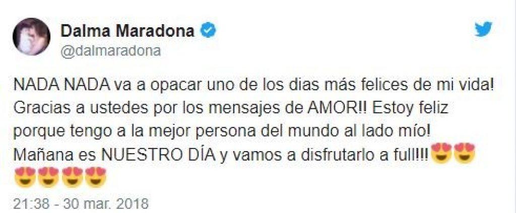 Το μήνυμα της Ντάλμα Μαραντόνα για την απουσία του πατέρα της από τον γάμο της (pic)